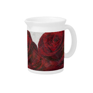 Red Roses Oil Textured Beverage Pitchers