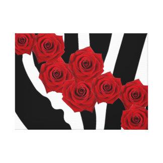 RED ROSES ON BLACK AND WHITE ZEBRA PRINT