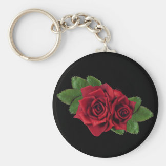 Red Roses on Black Basic Round Button Key Ring