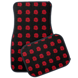 Red Roses on Black Car Mat
