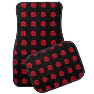 Red Roses on Black Floor Mat