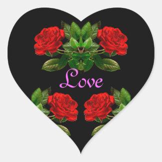 Red Roses on Black Velvet Floral Abstract Design Heart Sticker