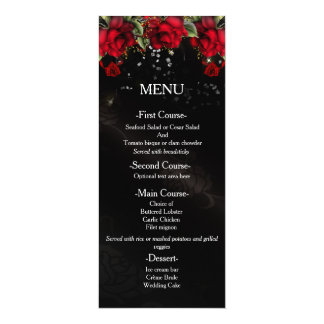 Red Roses on black Wedding Menu Card