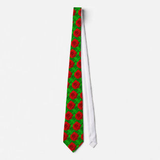 Red Roses on Green Roses Christmas Tie