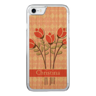 Red Roses on Pink Love Hearts Carved iPhone 8/7 Case