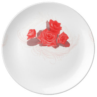 Red Roses on Vintage Cream Porcelain Plate