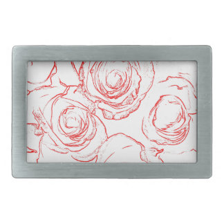 Red Roses Outlines Belt Buckle