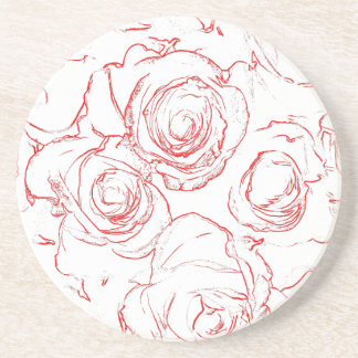 Red Roses Outlines Coaster
