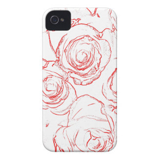 Red Roses Outlines iPhone 4 Cover
