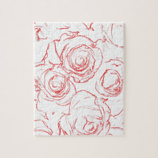Red Roses Outlines Jigsaw Puzzle