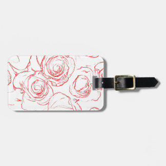 Red Roses Outlines Luggage Tag