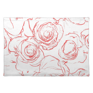 Red Roses Outlines Placemat