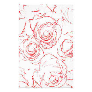 Red Roses Outlines Stationery
