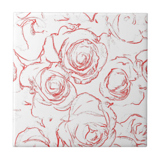 Red Roses Outlines Tile