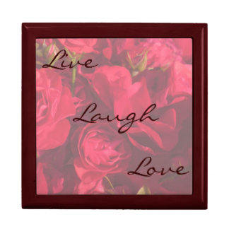 Red Roses Painting Live Laugh Love Gift Box