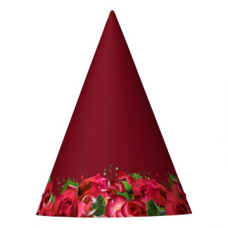Red Roses Party Hat-Maroon Burgundy Wine Party Hat