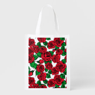 Red roses pattern reusable grocery bag