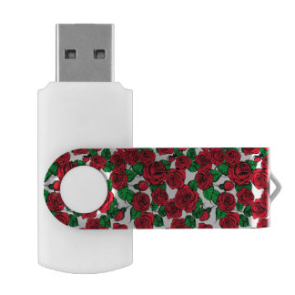 Red roses pattern USB flash drive