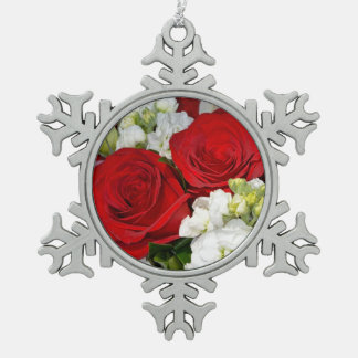 Red roses pewter snowflake ornament