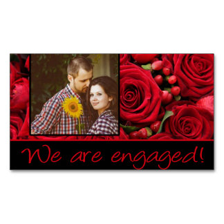 red roses photo engagement announcement magnetic business cards