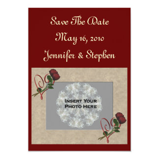 """Red Roses Photo Wedding Save The Date 5"""" X 7"""" Invitation Card"""