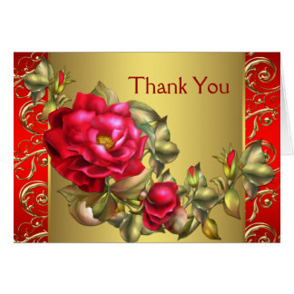 Red Roses Red Gold Thank You Cards