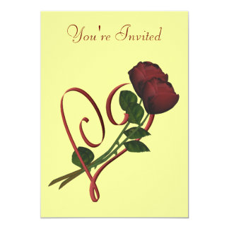 "Red Roses Red Heart Elegant Invitation 5"" X 7"" Invitation Card"