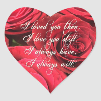 Red Roses Romantic I Loved You Then Heart Sticker