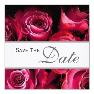 """Red Roses Save the Date Announcement 5.25"""" Square Invitation Card"""