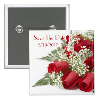 Red Roses Save The Date Button