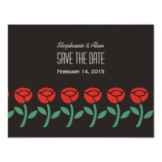 Red Roses Save The Date Card 11 Cm X 14 Cm Invitation Card