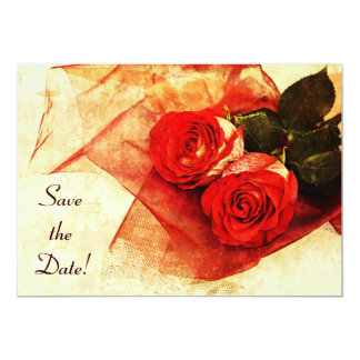 """Red roses Save the date 5"""" X 7"""" Invitation Card"""