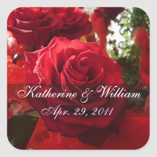 Red Roses Save The Date Sticker