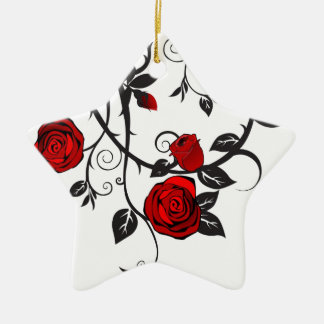 Red Roses Scrolling Vine Christmas Ornament