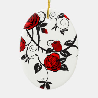 Red Roses Scrolling Vine Christmas Ornaments