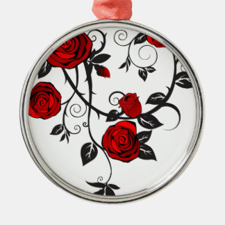 Red Roses Scrolling Vine Christmas Tree Ornaments
