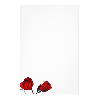 Red Roses Scrolling Vine Stationery Paper