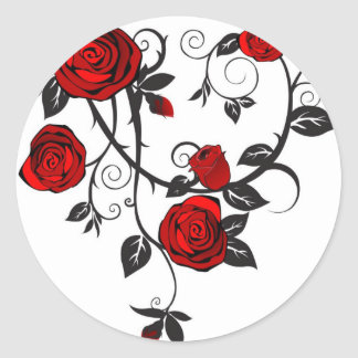 Red Roses Scrolling Vine Stickers