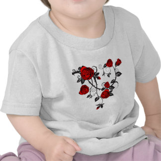 Red Roses Scrolling Vine T Shirt