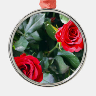 Red Roses Silver-Colored Round Decoration
