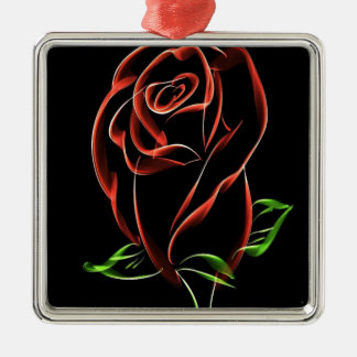 Red Roses Silver-Colored Square Decoration