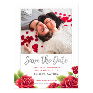 Red Roses & Silver Glitter Save the Date Photo Postcard