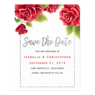 Red Roses & Silver Glitter Save the Date Postcard