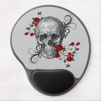 Red Roses Skull Gel Mouse Pad