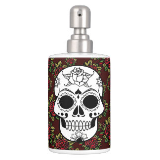 red roses skull Toothbrush Holder Soap Set