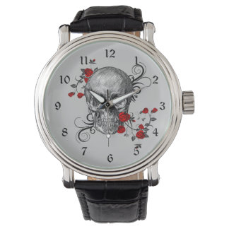 Red Roses Skull Watch