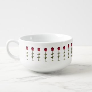 Red Roses Soup Bowl With Handle