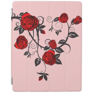 Red Roses tattoo ipad air cover w/ pink background