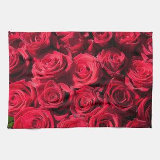 Red roses tea towel
