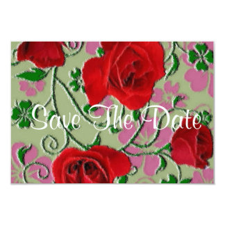 Red Roses vintage save the date 9 Cm X 13 Cm Invitation Card